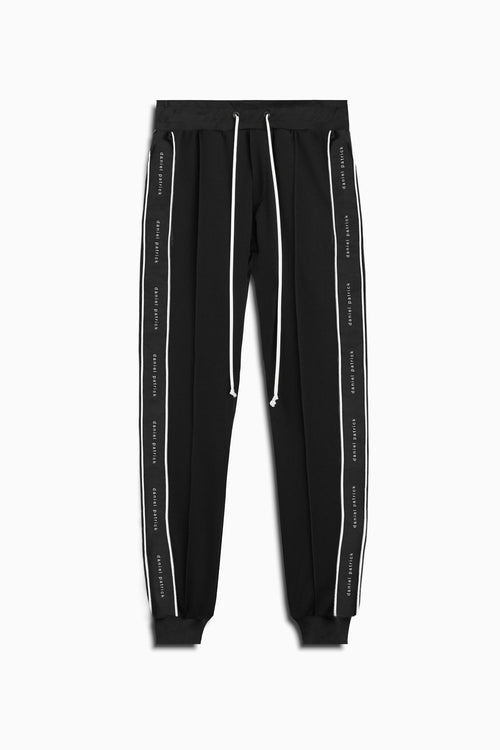 slim track pant piping / black + ivory