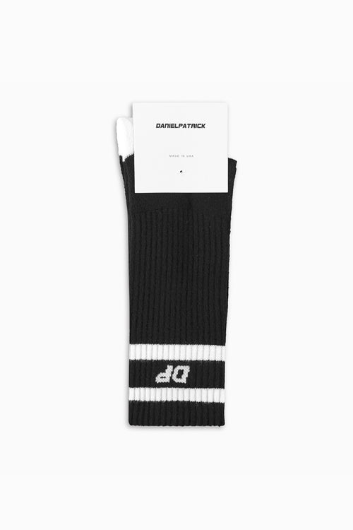 DP stripe b-ball sock in black/white by daniel patrick