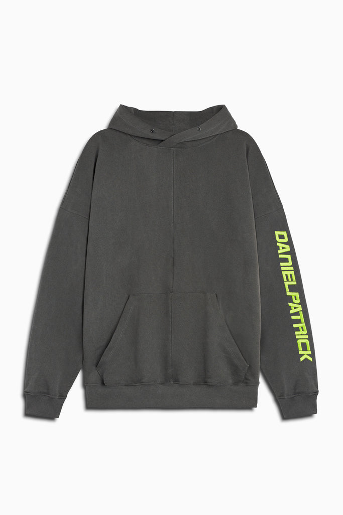 2019 DP hoodie in vintage black/lime by daniel patrick