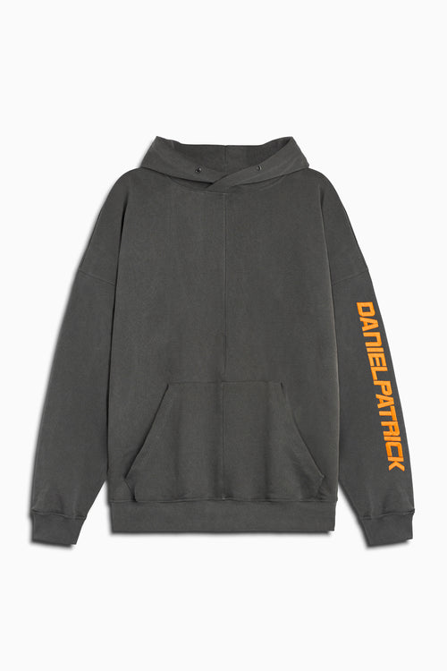 2019 DP hoodie in vintage black/neon orange by daniel patrick