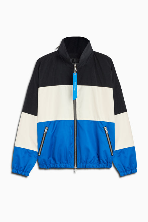 panel track jacket in black/ivory/cobalt by daniel patrick