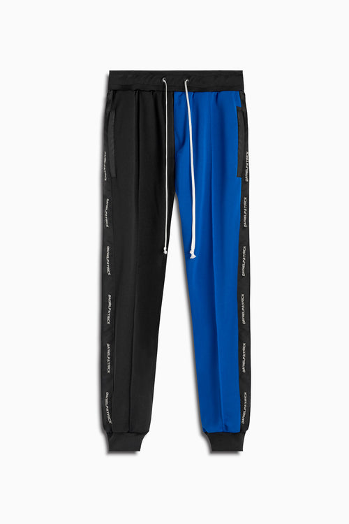 50/50 track pants in black/cobalt by daniel patrick