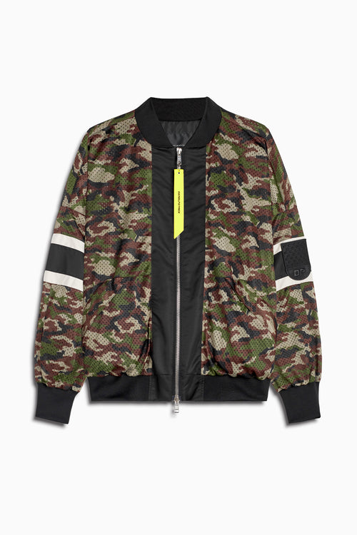 mesh bomber 5.5 jacket in camo/black/ivory by daniel patrick