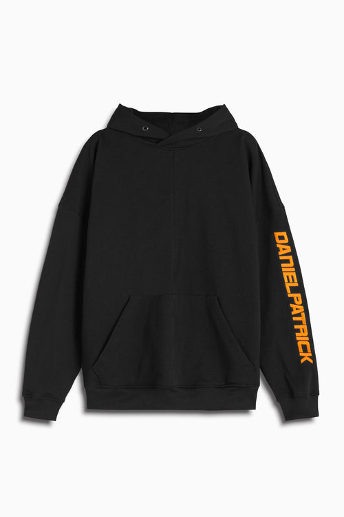 2019 DP hoodie in black/neon orange by daniel patrick