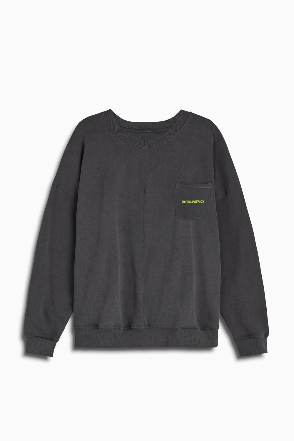 pocket crew sweat ii in vintage black/lime by daniel patrick