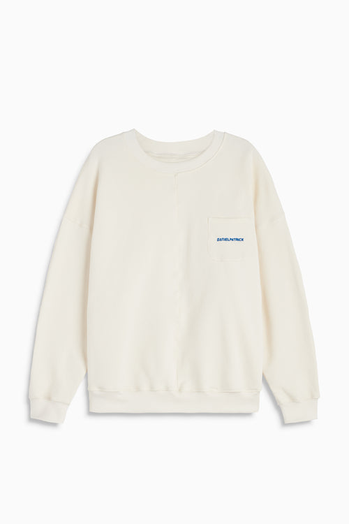 pocket crew sweat ii in natural/cobalt by daniel patrick