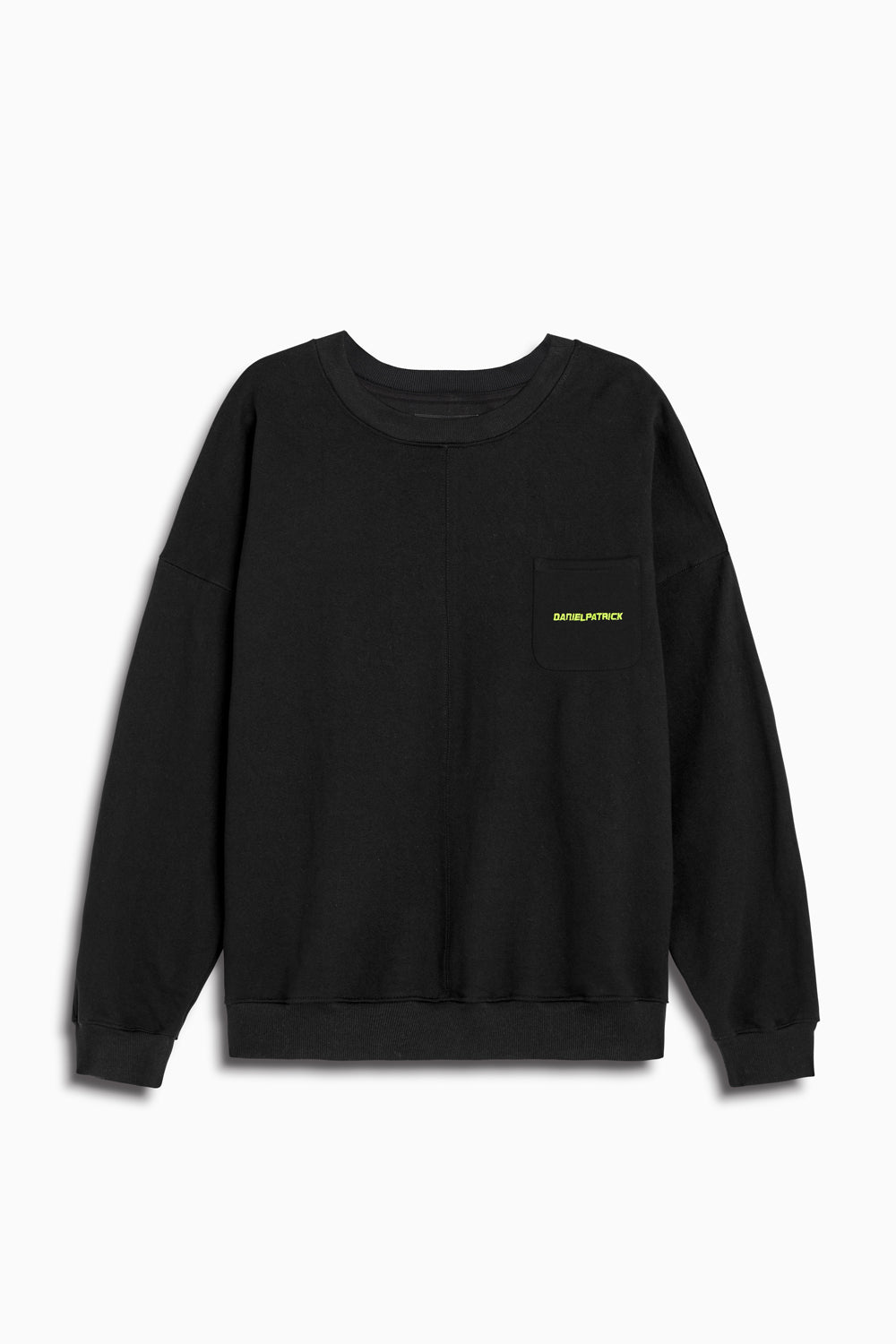 pocket crew sweat ii in black/lime by daniel patrick