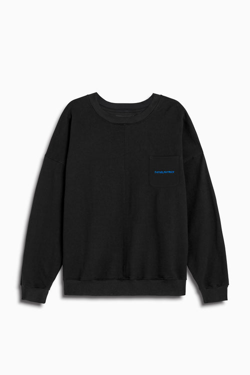 pocket crew sweat ii in black/cobalt by daniel patrick