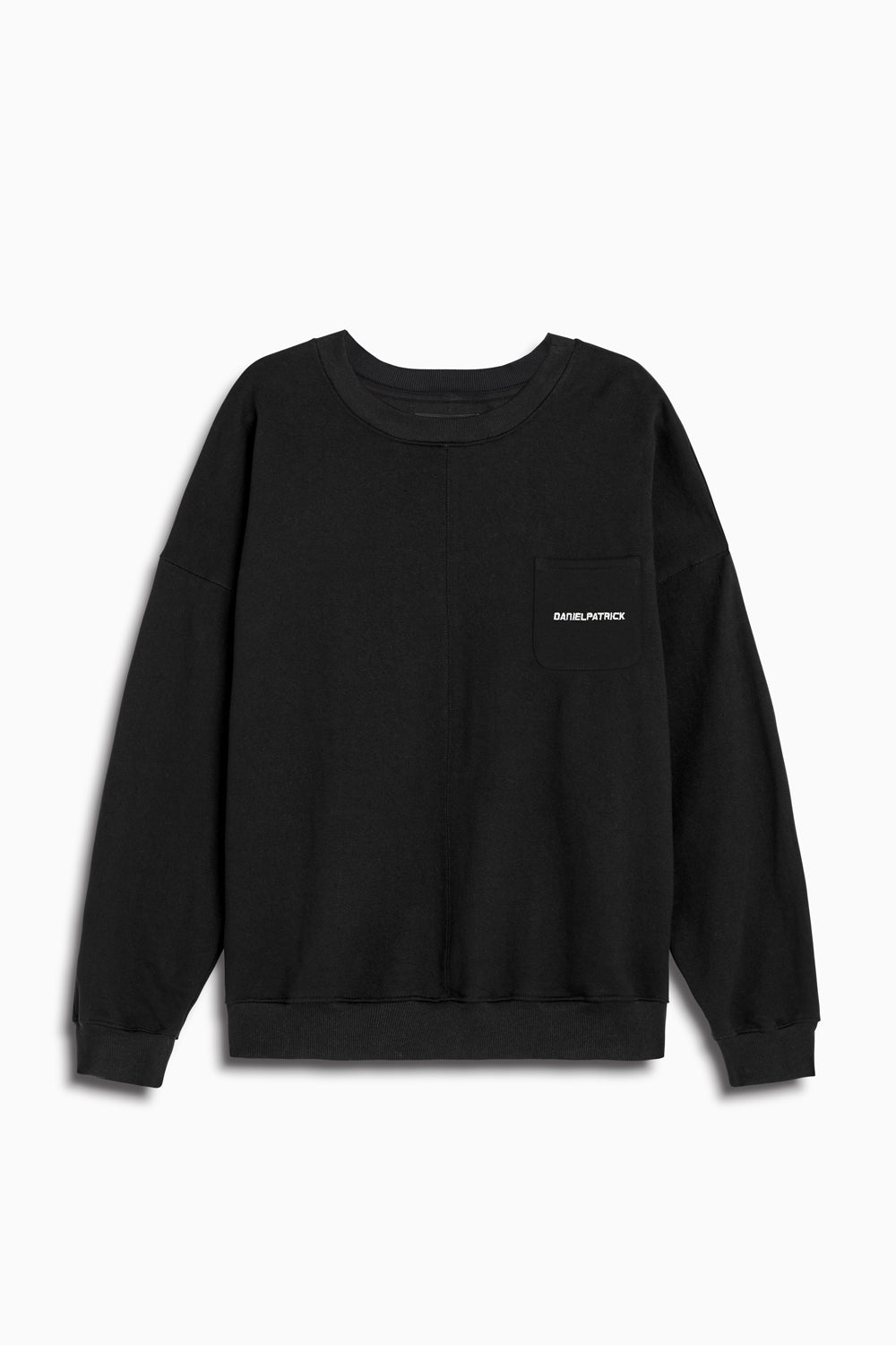 pocket crew sweat ii in black/ivory by daniel patrick