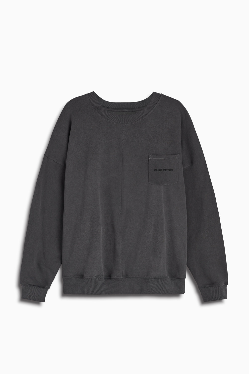 pocket crew sweat ii in vintage black/black by daniel patrick