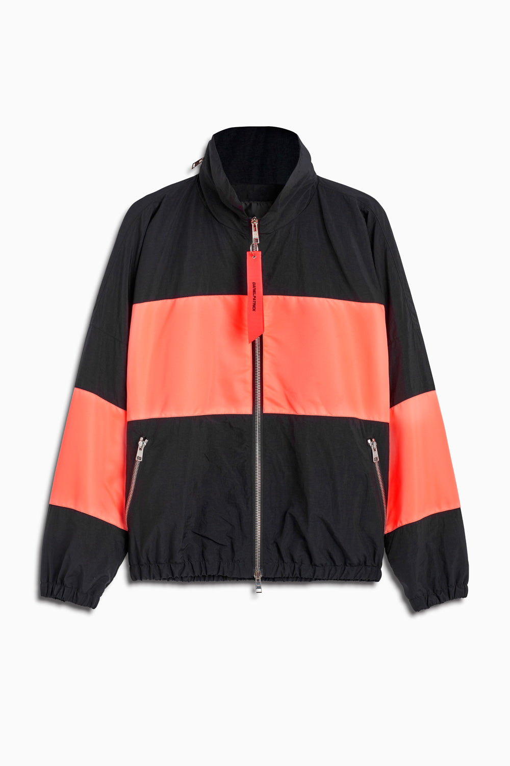 panel track jacket in black/coral by daniel patrick