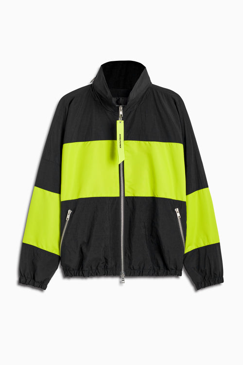 panel track jacket in black/citrus lime by daniel patrick
