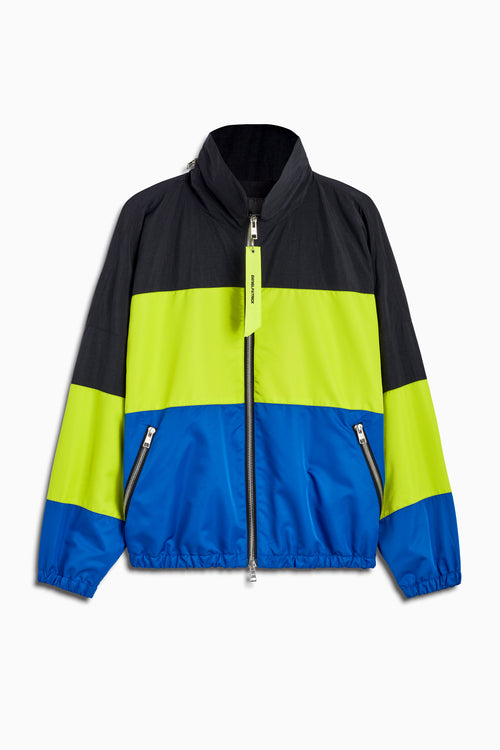 panel track jacket in black/citrus lime/cobalt by daniel patrick