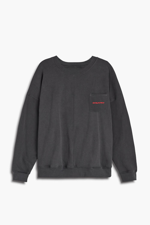 pocket crew sweat ii in vintage black/red by daniel patrick