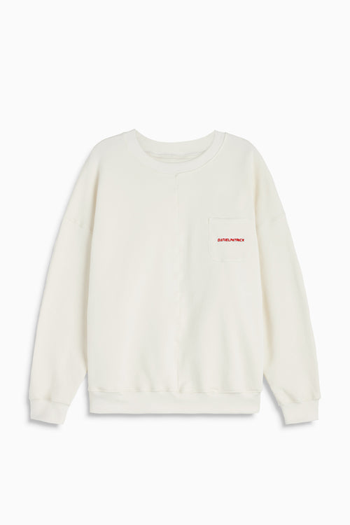 pocket crew sweat ii in natural/red by daniel patrick