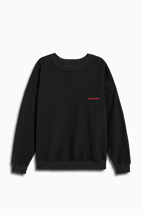 pocket crew sweat ii in black/red by daniel patrick