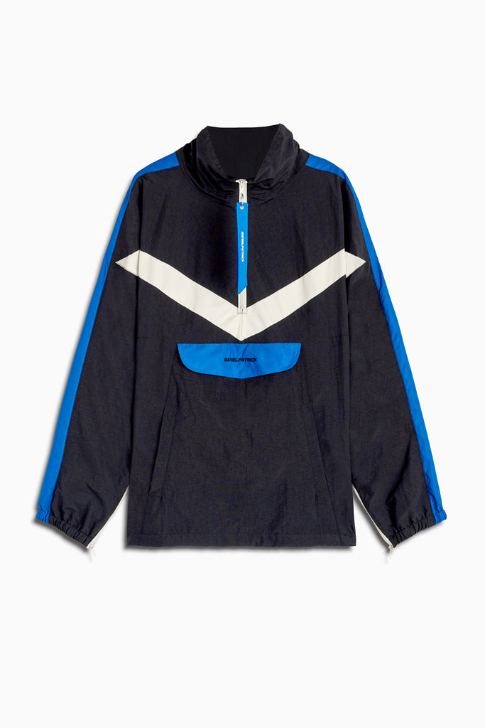 2019 anorak sport pullover in black/cobalt/ivory by daniel patrick
