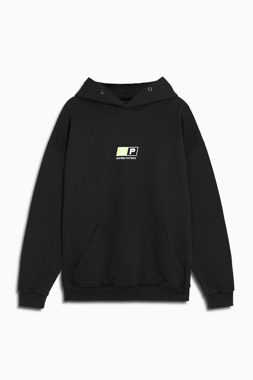 motorsport hoodie in black/neon yellow by daniel patrick