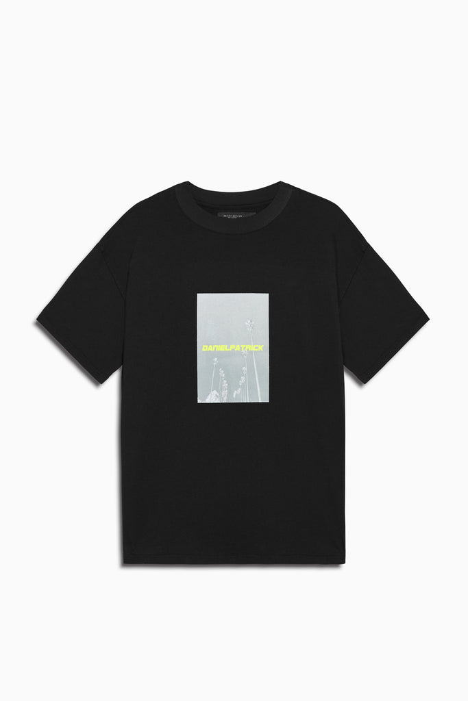 neon palm tee in black/neon yellow by daniel patrick