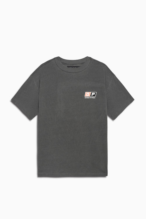 motorsport tee in vintage black/coral by daniel patrick
