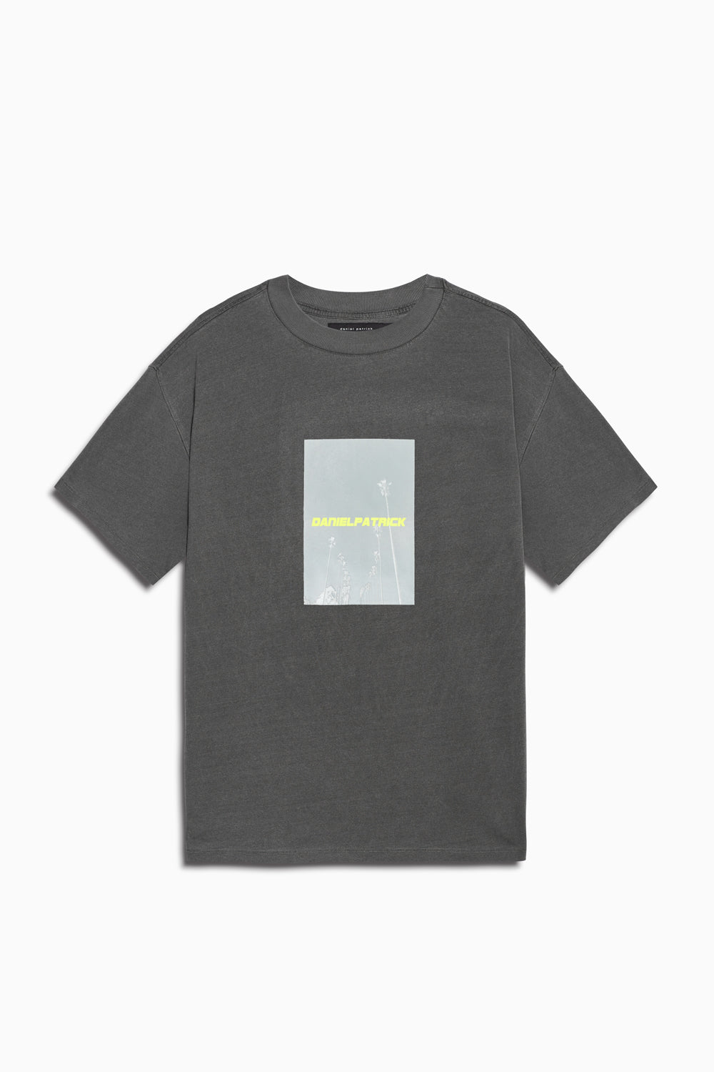 neon palm tee in vintage black/neon yellow by daniel patrick