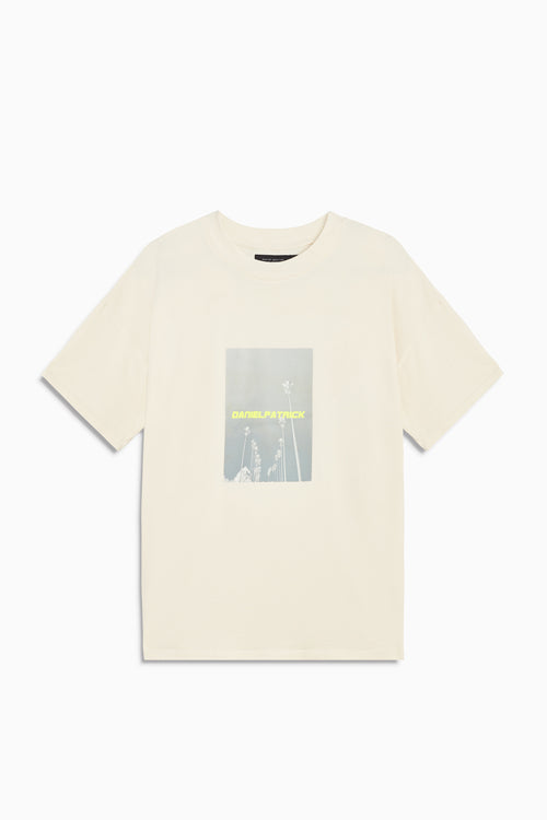 neon palm tee in natural/neon yellow by daniel patrick