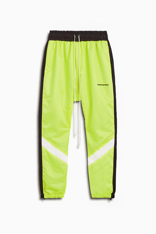 2019 parachute track pant in citrus lime/black/ivory by daniel patrick