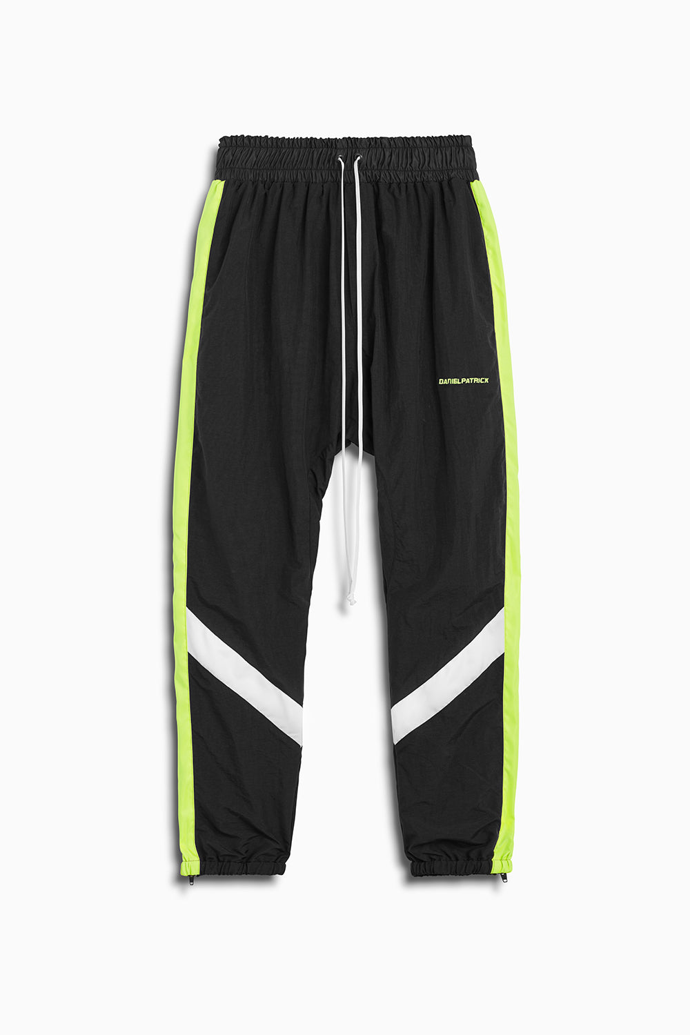 2019 parachute track pant in black/citrus lime/ivory by daniel patrick