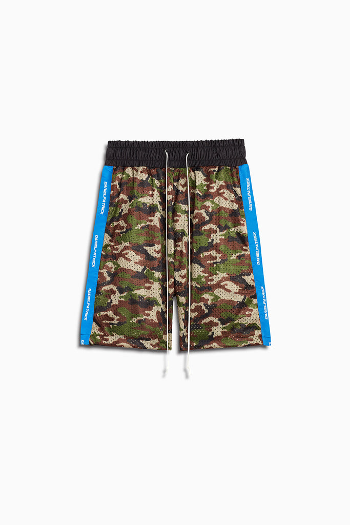 mesh gym shorts in camo/cobalt by daniel patrick