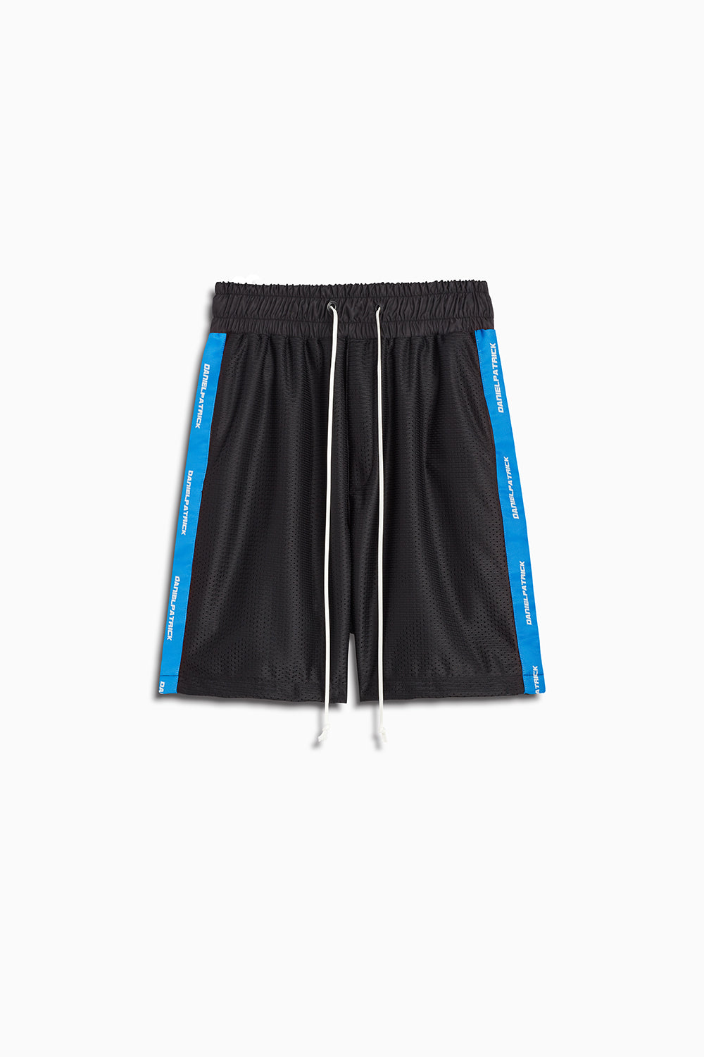 mesh gym short in black/cobalt by daniel patrick