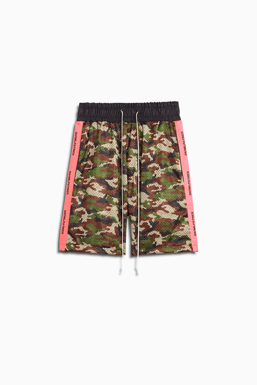 mesh gym shorts in camo/neon pink by daniel patrick
