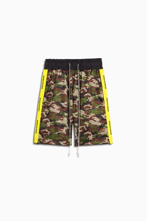 mesh gym shorts in camo/lime by daniel patrick