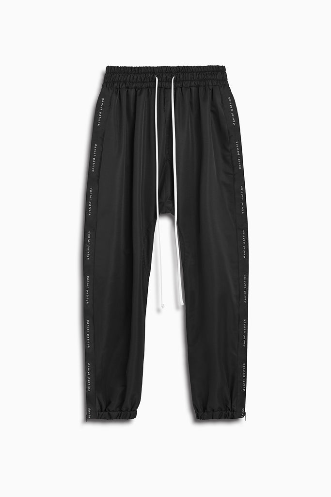 dp parachute track pant in black by daniel patrick