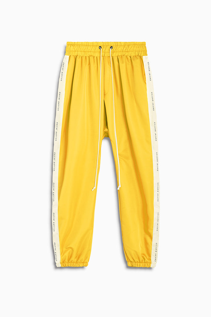 dp parachute track pant in yellow + natural by daniel patrick