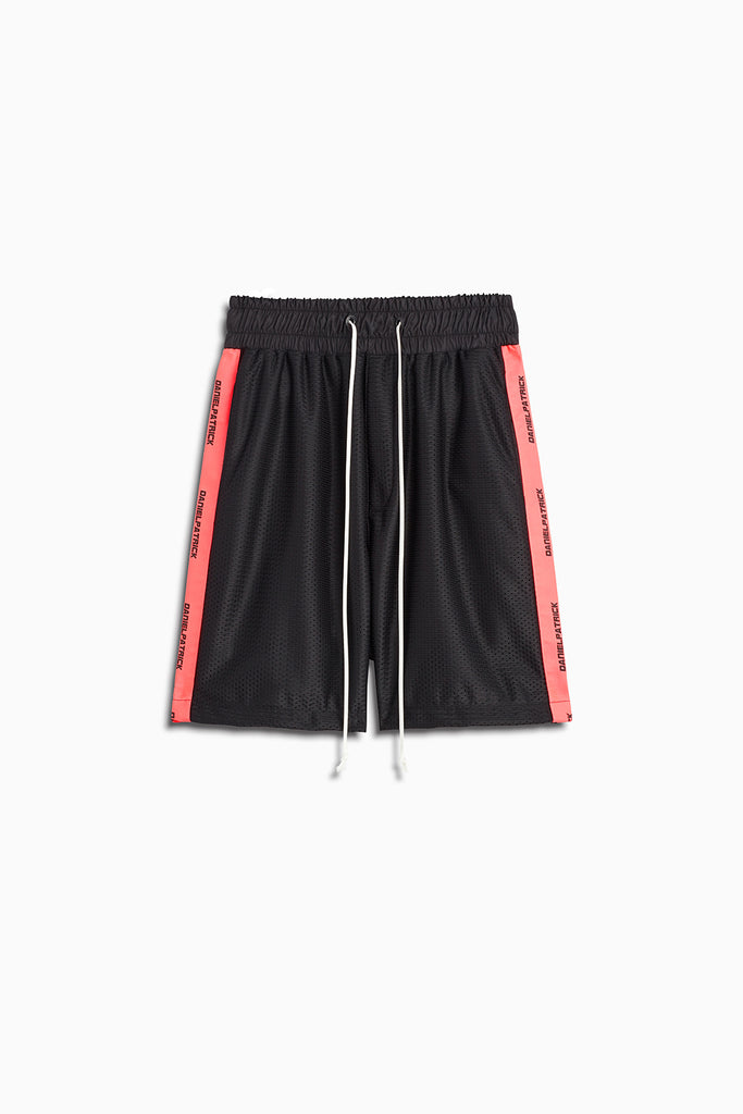 mesh gym short in black/neon pink by daniel patrick