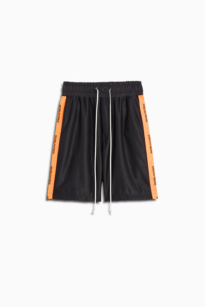 mesh gym short in black/neon orange by daniel patrick