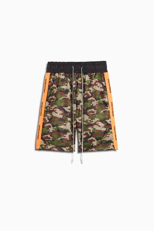 mesh gym shorts in camo/neon orange by daniel patrick