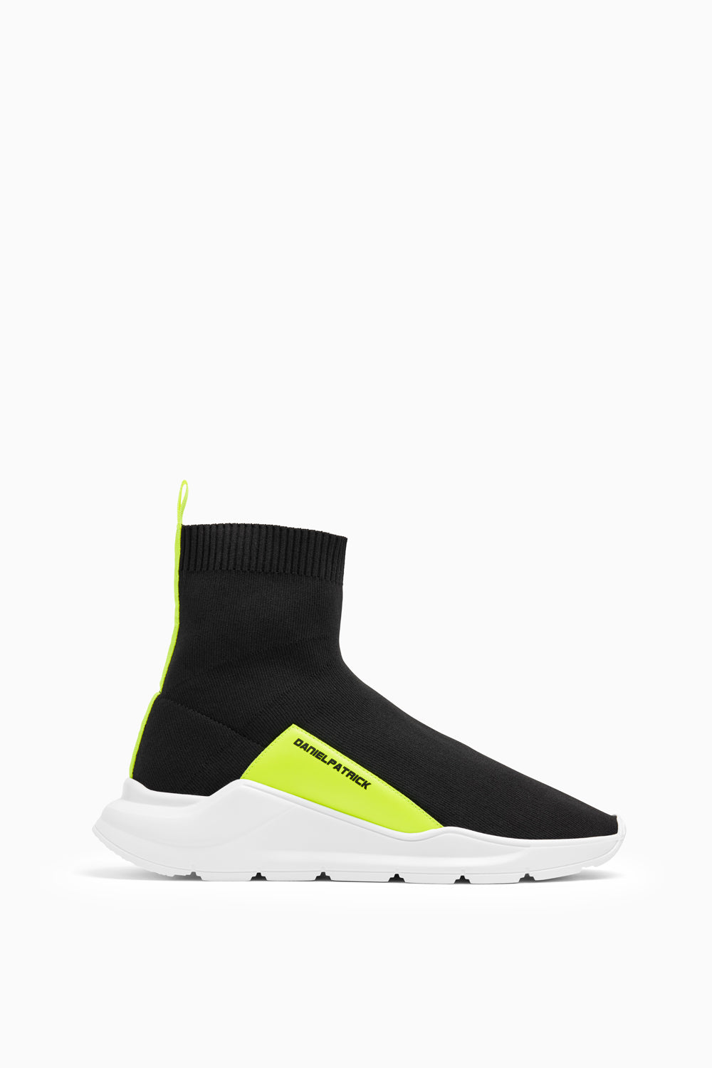 sock runner sneaker in black/neon yellow by daniel patrick