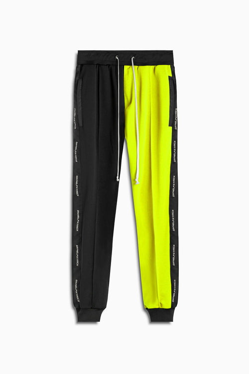 50/50 track pant in black/neon yellow by daniel patrick