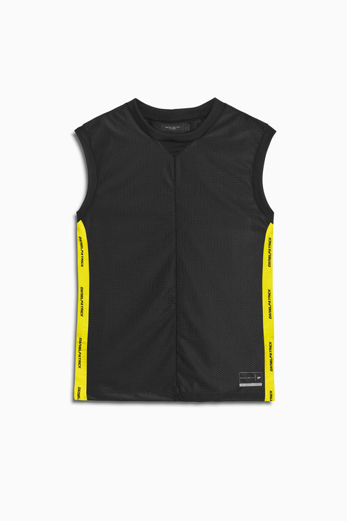 mesh b-ball tank in black/lime by daniel patrick