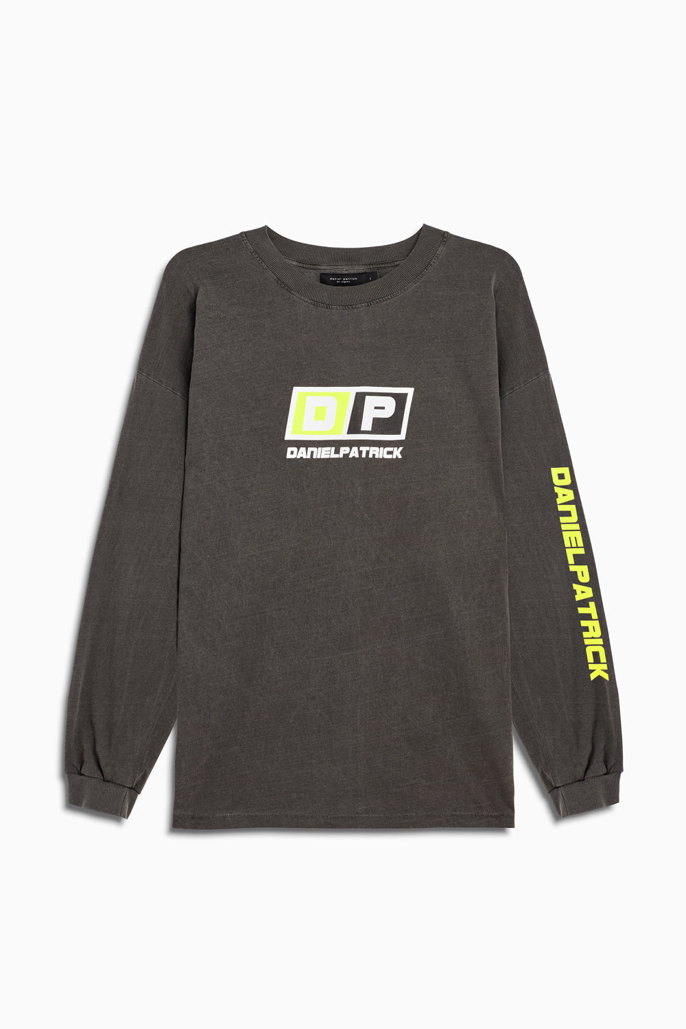 motorsport l/s crew in vintage black/neon yellow by daniel patrick
