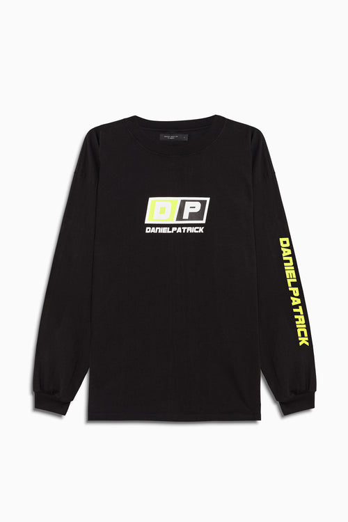motorsport l/s crew in black/neon yellow by daniel patrick