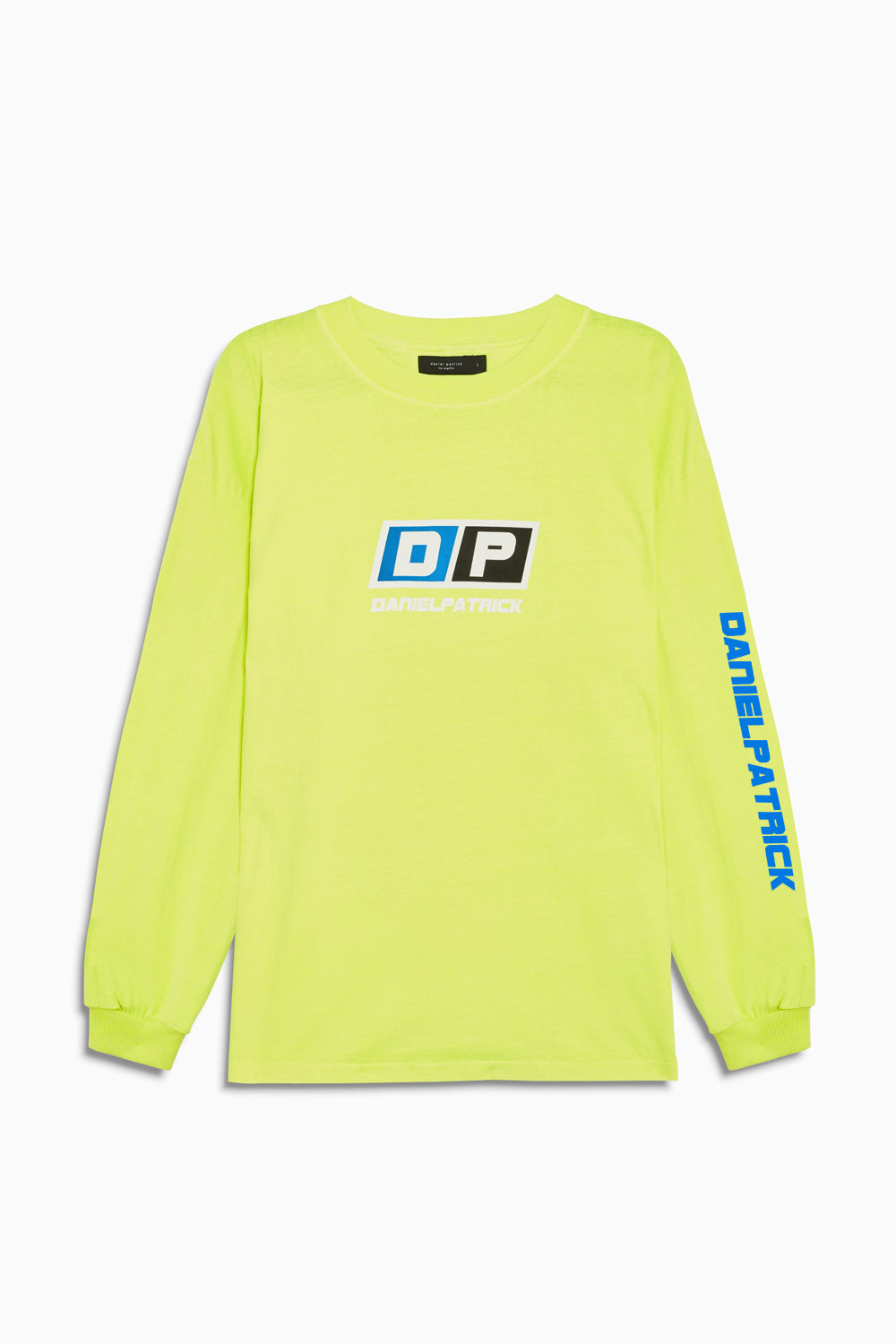 motorsport l/s crew in neon yellow/cobalt by daniel patrick