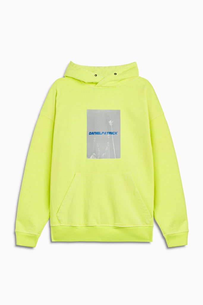 neon palm hoodie in neon yellow/cobalt by daniel patrick