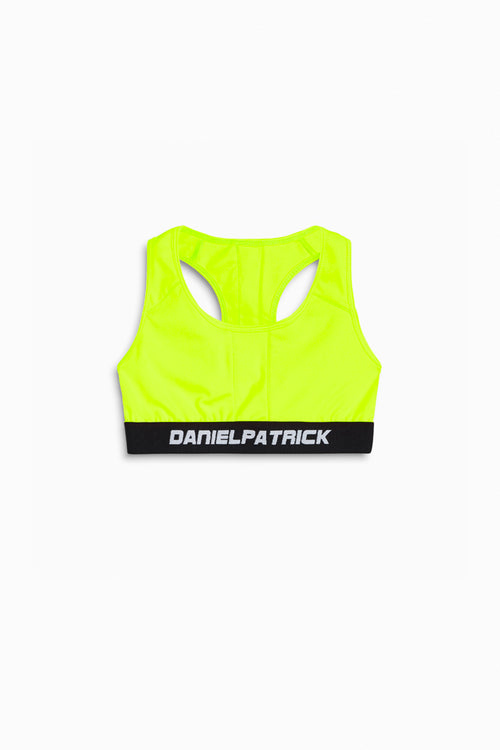 womens sports bra in neon yellow by daniel patrick