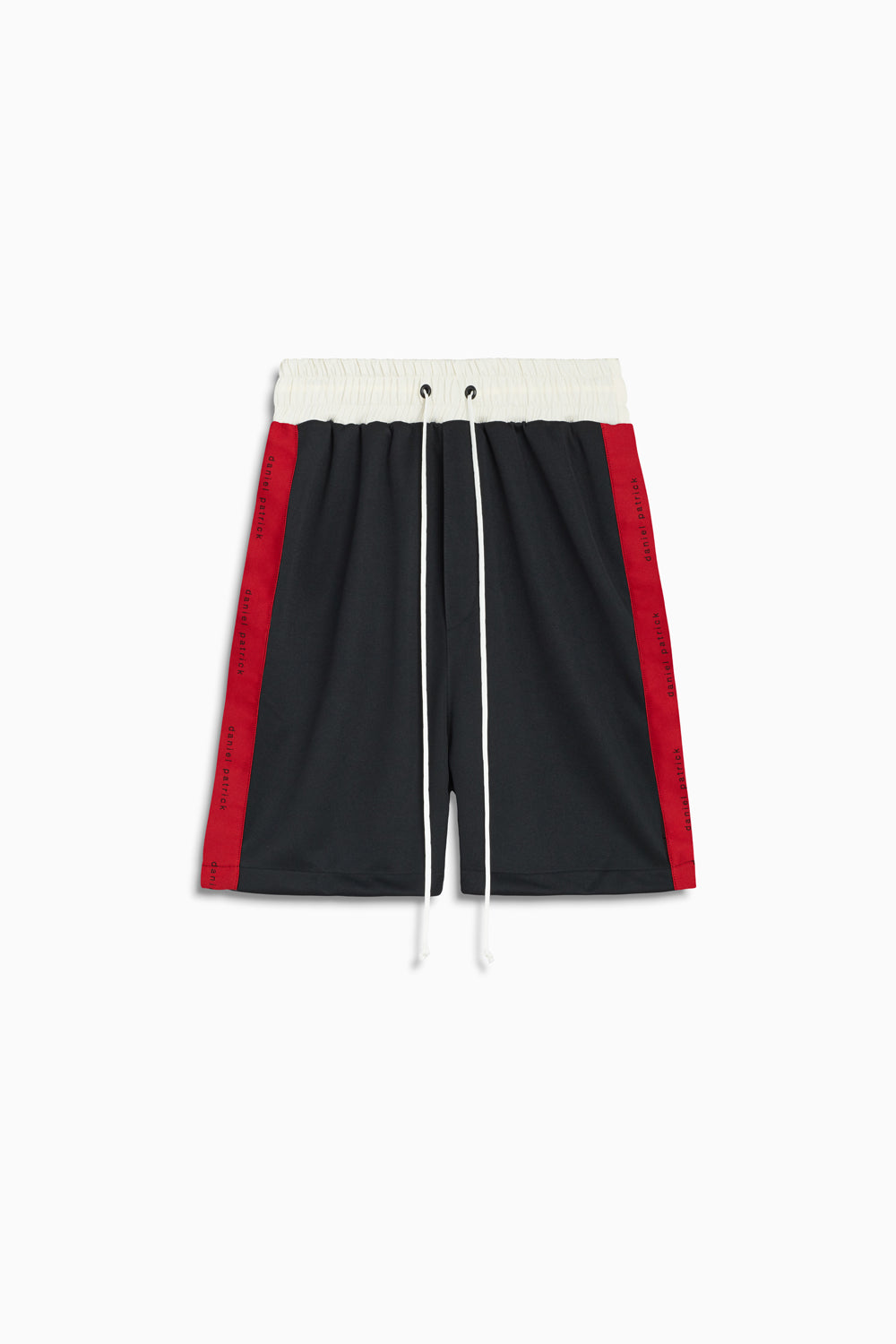 roaming gym shorts in black/red/ivory by daniel patrick