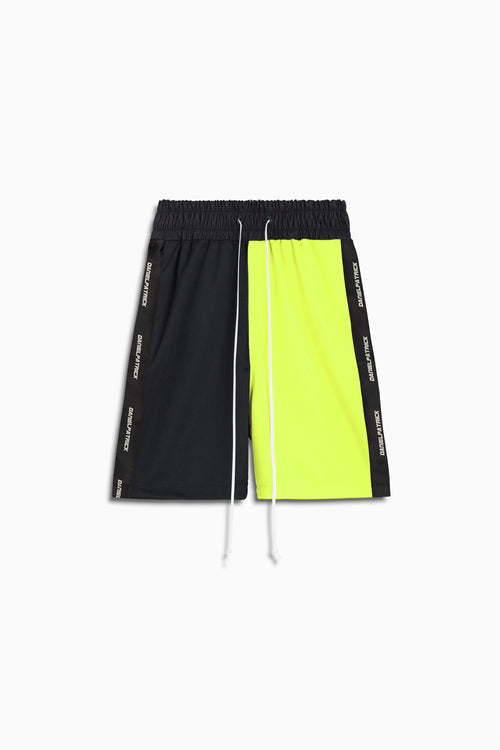 50/50 gym short in black/neon yellow by daniel patrick
