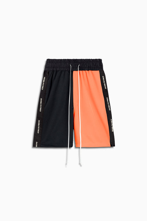 50/50 gym short in black/neon orange by daniel patrick
