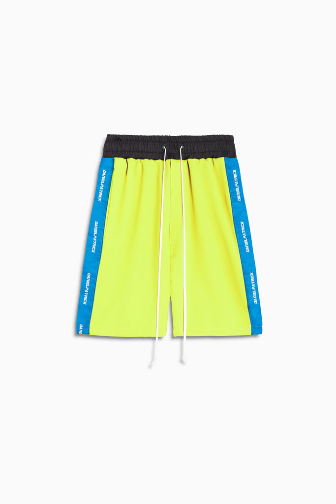2019 gym short in neon yellow/cobalt by daniel patrick