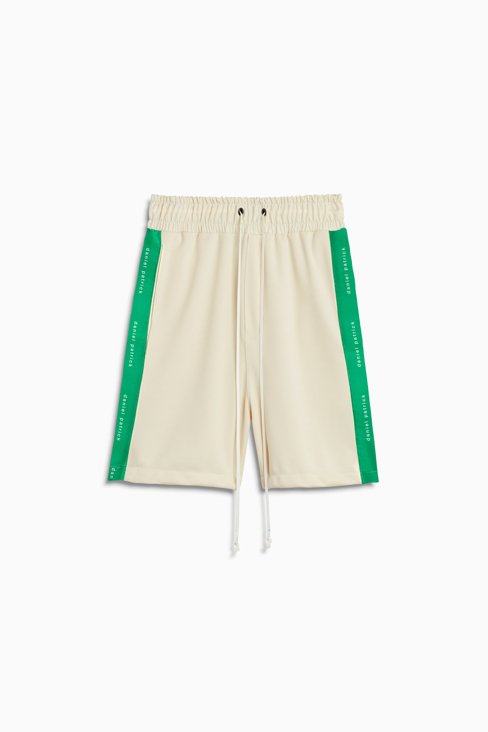 roaming gym shorts in ivory/green by daniel patrick